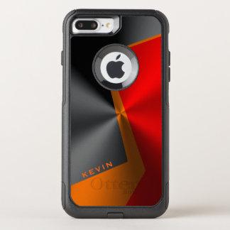 Geometric Metallic Red black & Orange OtterBox Commuter iPhone 8 Plus/7 Plus Case