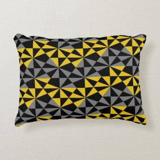Geometric Modern Angular Black Mustard Gold Decorative Pillow