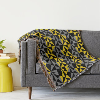 Geometric Modern Angular Black Mustard Gold Throw Blanket