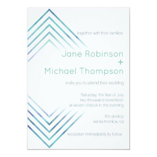 Geometric Modern Blue Watercolor Wedding Invite |