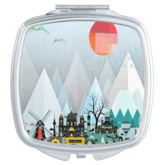 Geometric modern city mountain pattern mirror travel mirrors