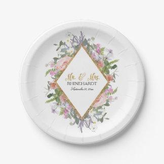 Geometric Modern Floral Bridal Shower Rose Gold Paper Plate