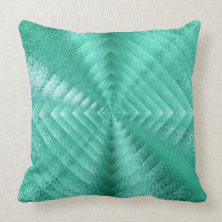 Geometric Monochromatic Glass Mint Green Tiffany Throw Pillow