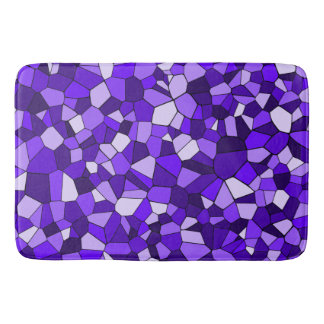 Geometric Monochrome Purple Mosaics Pattern Bath Mat