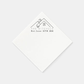 Geometric Mountain | Custom Name & Date Paper Napkin