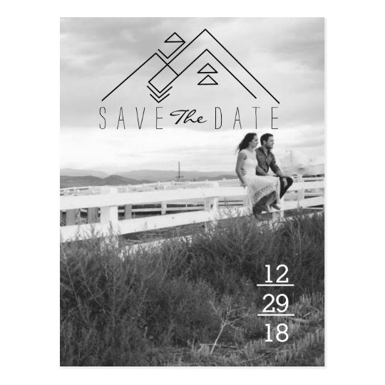 Geometric Mountain | Modern Save The Date Postcard