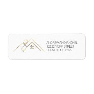 Geometric Mountains  Gold   Custom Address
