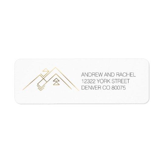 Geometric Mountains| Gold | Custom Address Return Address Label