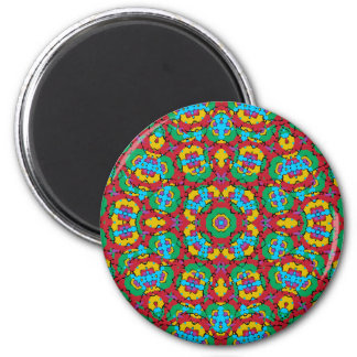 Geometric Multicolored Print 2 Inch Round Magnet