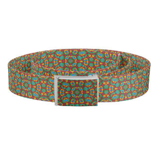 Geometric Multicolored Print Belt
