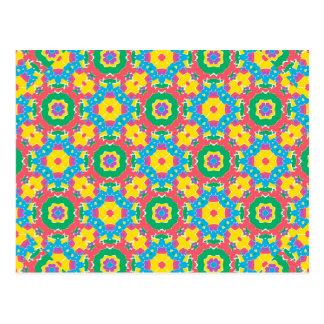 Geometric Multicolored Print Postcard