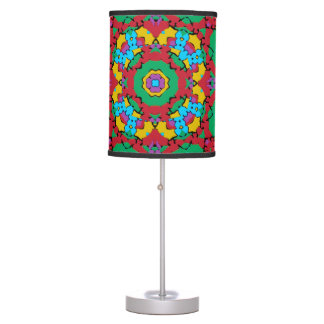 Geometric Multicolored Print Table Lamps