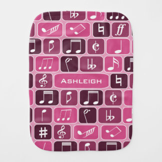 Geometric Music Notes Pink Burp Cloth