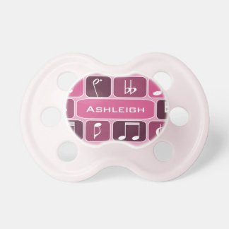 Geometric Music Notes Pink Pacifier
