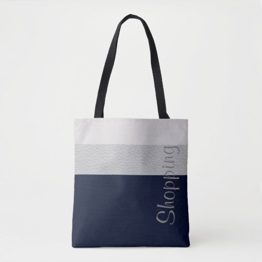 Geometric Navy And Grey Striped Pattern Tote Bag
