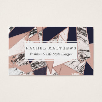 Geometric Navy Blue Peach Marble and Rose Gold Business Card