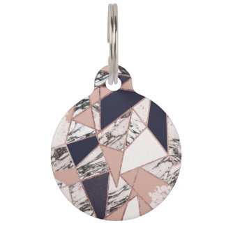Geometric Navy Blue Peach Marble and Rose Gold Pet Name Tag