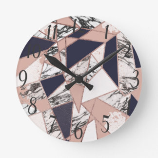 Geometric Navy Blue Peach Marble and Rose Gold Round Clock