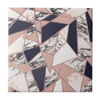 Geometric Navy Blue Peach Marble and Rose Gold Tile