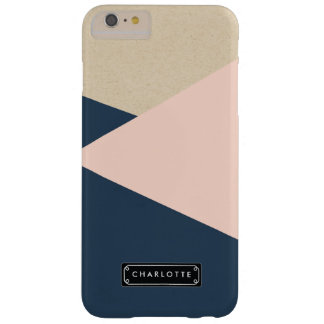 Geometric Navy & Blush Pink Personalized Barely There iPhone 6 Plus Case