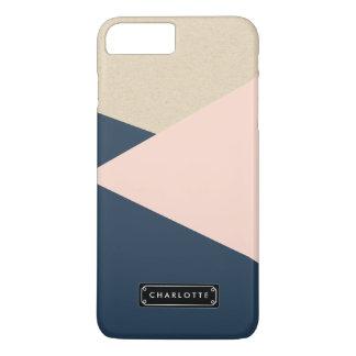 Geometric Navy & Blush Pink Personalized iPhone 8 Plus/7 Plus Case