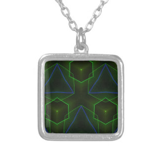 Geometric Octogon Pattern Silver Plated Necklace