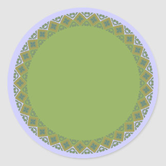 Geometric Olive Green Border Blank Template Label Round Sticker