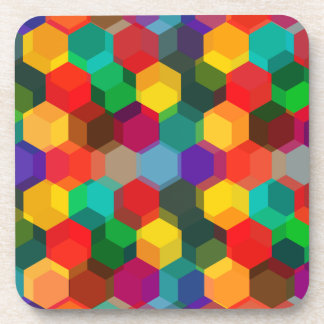 Geometric Ombre Rainbow Hexagons Beverage Coasters