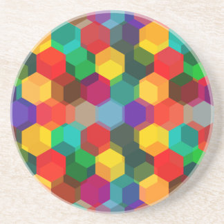 Geometric Ombre Rainbow Hexagons Coaster