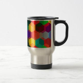Geometric Ombre Rainbow Hexagons Travel Mug