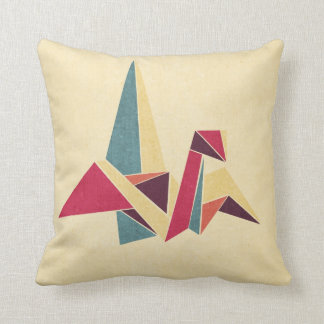 Geometric Origami Bird Throw Pillow