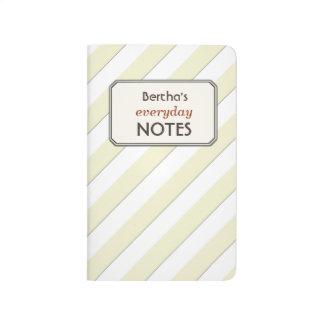 Geometric Pastel Yellow Stripes Custom Text Label Journals
