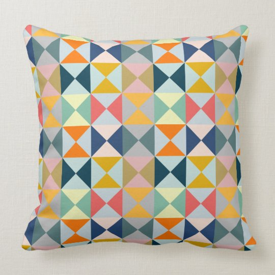 Geometric Patchwork Triangles Throw Pillow