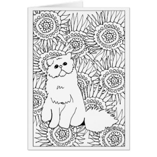 Geometric Pattern Adult Colouring Grumpy Cat Card