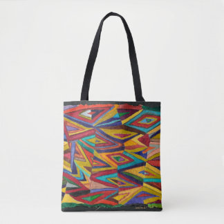 geometric pattern, bright colours tote bag
