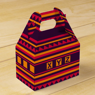 Geometric pattern custom monogram favor box