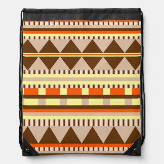 Geometric pattern drawstring bag