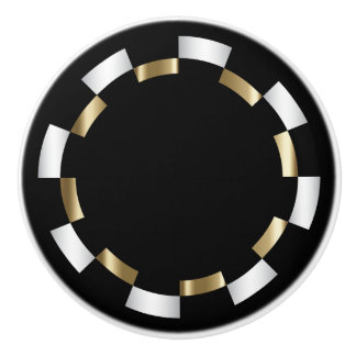 Geometric Pattern | Gold, White & Black Ceramic Knob