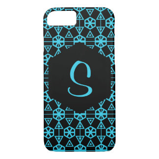 Geometric Pattern in Blue and Black iPhone 8/7 Case