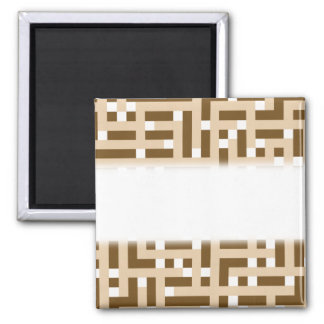 Geometric Pattern in Brown Beige and White Fridge Magnet