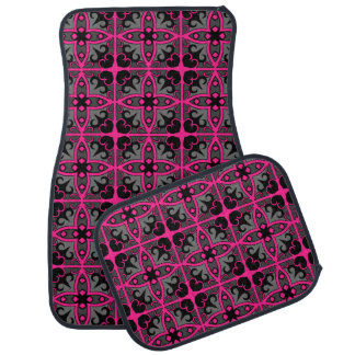 Geometric pattern in hot pink gray and black car mat