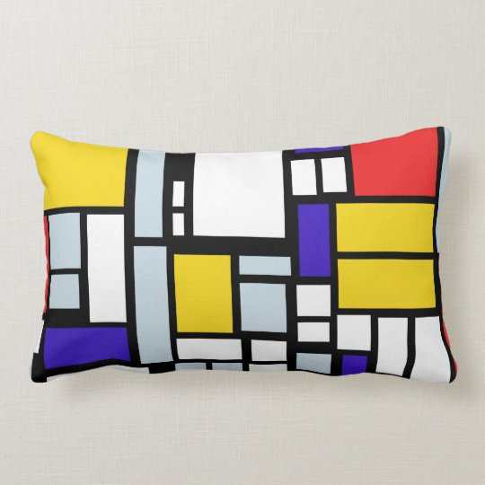 Geometric Pattern in Primary Colour, Throw Pillow