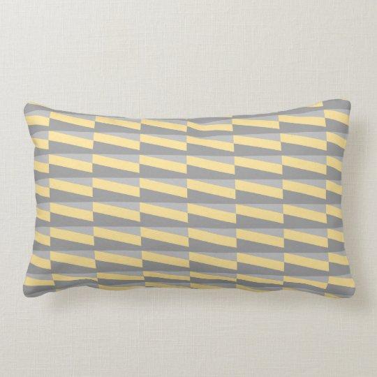 Geometric Pattern in Yellow and Grey. Lumbar Pillow