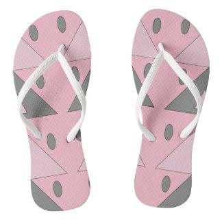 Geometric Pattern Light Soft Pink Gray Funny Flip Flops