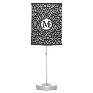 Geometric Pattern Monogram Black and White ID149 Desk Lamps