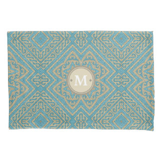 Geometric Pattern Monogram Turquoise Gold ID161 Pillowcase