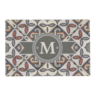 Geometric Pattern Monogram Warm Grey ID162 Laminated Place Mat