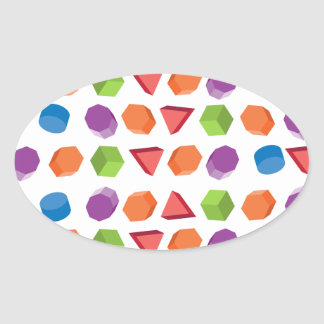 Geometric pattern oval sticker