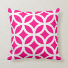 Geometric Pattern Pillow in Hot Pink