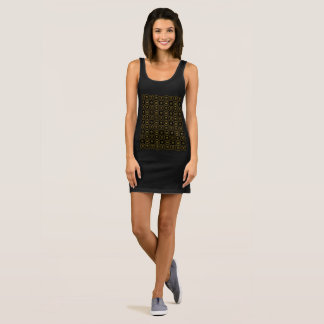 Geometric Pattern Shiny Black Gold Elegant Sleeveless Dress